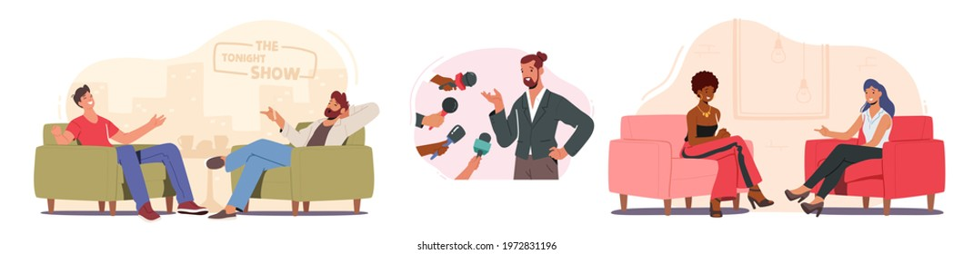 Set Tv Night Show with Guest. Male and Female Celebrity Characters Giving Interview to Television Presenter in Broadcasting Studio, Journalist Host Ask Famous People. Cartoon Vector Illustration - Shutterstock ID 1972831196