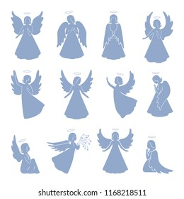 Set of twelve Angels with simple wings on a light background. Angels silhouettes for greeting card, poster and banner for Easter, Christmas, religion calendar. Vector isolated angels figurines.