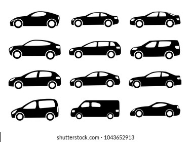 Set of twelve black car silhouettes on a white background. Vector illustration.