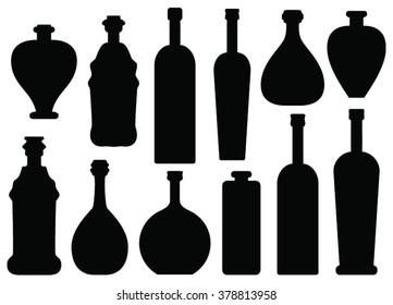 Set of twelve bottle silhouettes