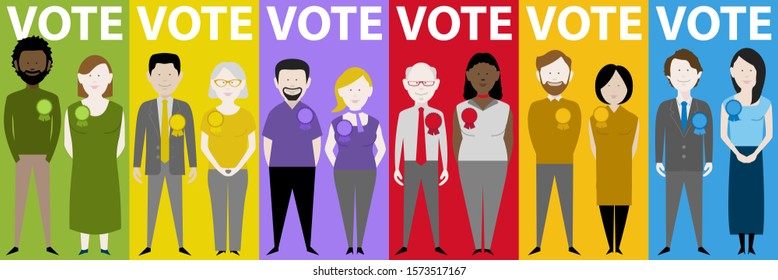 set of twelve candidates from the major uk political parties. EPS vector available