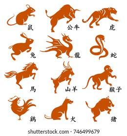 Set of twelve chinese year lunar zodiac horoscope symbols. English translate chinese hieroglyph is name of animal.