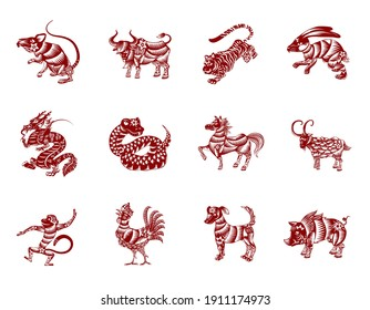 Set of the twelve Chinese Zodiac animals in silhouettes, lines, flowers, red and white colors: rat; ox, tiger, rabbit, dragon, snake, horse, goat, monkey, rooster, dog and pig.