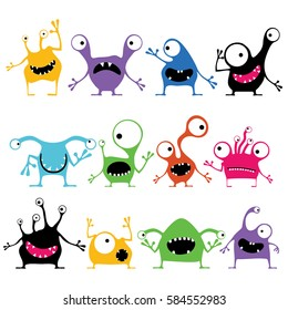 Set of twelve color cute monsters with emotions, isolated on white. Cartoon illustration