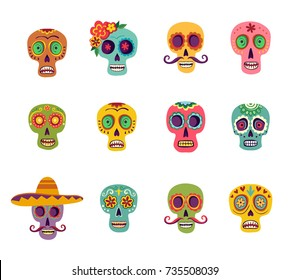 A set of twelve colored sugar skulls, which are decorated with flowers, with a mustache and a sombrero