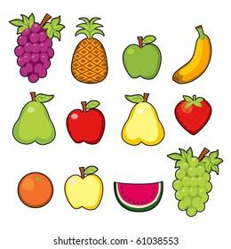 Set of twelve colorful juicy fruits