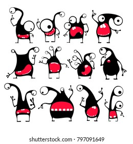 Set of twelve cute black monsters with different emotions isolated on white. cartoon illustration