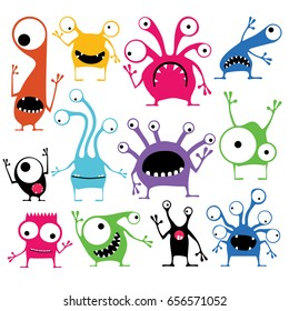 Set of twelve cute color monsters with different emotions isolated on white, cartoon illustration