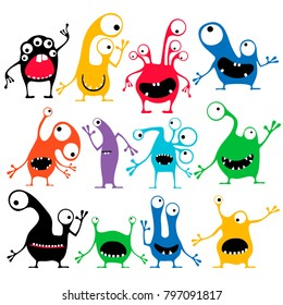 Set of twelve cute color monsters with different emotions isolated on white. cartoon illustration