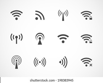Set of twelve different black vector wireless and wifi icons for remote access and communication via radio waves