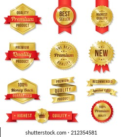 Set of twelve golden vector Commercial Labels and Ribbon templates. Vector file is organized in layers to separate Graphic elements from Text and Shadows.