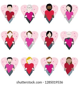 set of twelve icons of multiethnic adults holding valentine love hearts