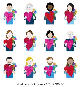 set of twelve icons of multiethnic adults holding valentine chocolate and flowers