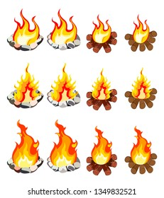 A set of twelve images of fire of different shapes. On white background.