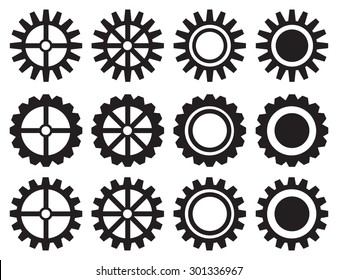 Set of twelve isolated black and white gears and cogwheels vector icon design.