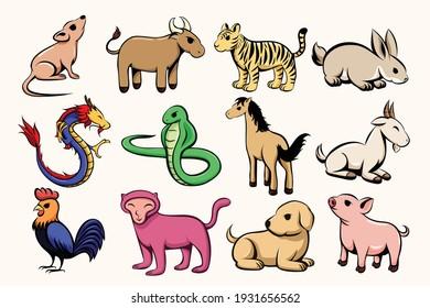 Set of twelve lunar zodiac horoscope symbol. Concept chinese happy new year. Color  vector illustration cartoon of twelve animal.