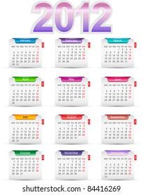 Set of twelve monthly calendars for 2012