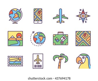 Set of twelve outline icons for travel and navigation theme: airplane, airplane ticket, compass, map, globe, luggage bag with stickers, landscape, postcard