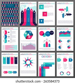 Set of twelve pages of  infographic  brochures and flyers  for business data visualization, websites, applications, marketing, print, presentation etc