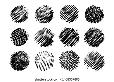 Set of twelve Sketch Scribble Smears. Hand drawn Pencil Scribble Stain. Vector illustration.