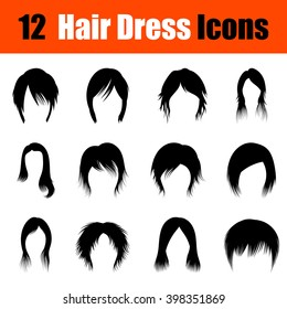Set of twelve woman's hairstyles  black icons. Vector illustration.