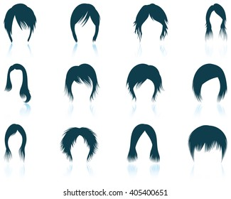 Set of twelve woman's hairstyles  icons with reflections. Vector illustration.