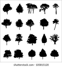 Set Of Twenty Black Vector Silhouettes Trees