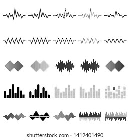 Set of twenty five digital equalizer icon, vector of sound wave pattern element isolated on white background. Audio technology, musical pulse. Template visualization signal Illustration.