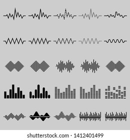 Set of twenty five digital equalizer icon, vector of sound wave pattern element isolated on grey background. Audio technology, musical pulse. Template visualization signal Illustration.