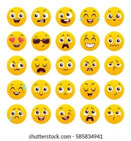 Set of twenty five emoticons. Icon pack. Yellow emoji isolated on white background. Vector illustration.