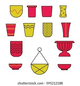 Set of twenty flower pots, hand drawn, doodle icons