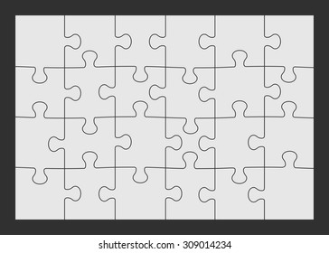 Set of twenty four puzzle pieces. Vector illustration, eps 8.