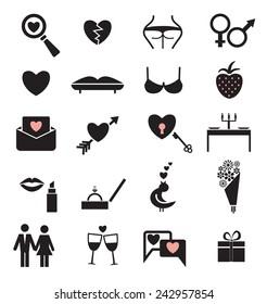 Set of twenty love icons