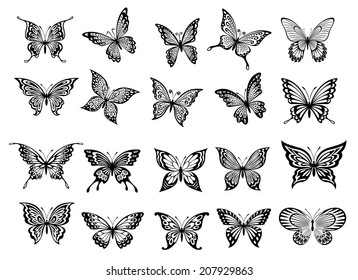 Set of twenty ornate black and white flying butterflies with open wings for use as design elements or logo