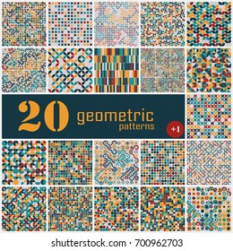 Set of twenty seamless geometric pattern with colored elements, vector abstract background