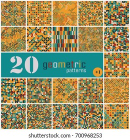 Set of twenty seamless geometric pattern with colored elements, vector abstract background, colorful geometric background