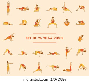 Set of twenty six yoga poses. Collection of asanas. Warm colors.