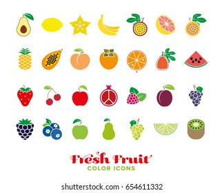 Set of twenty-eight fresh fruit color icons. Collection of healthy food symbols in rainbow colors.