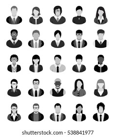 Set of twenty-five business people icons in black, white and grey.