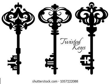 Set of twisted old antique keys. Vector illustration.