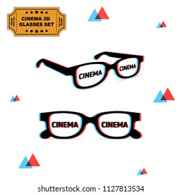 Set of two 3d glasses with chromatic aberration and cinema word on lens, illustration for graphic design. Vector on white background