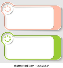 set of two abstract text boxes with arrows