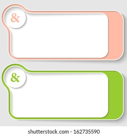 set of two abstract text boxes with ampersand