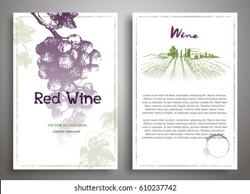 Set of two art background wine design template.Wine menu. Drawing hand image, vector illustration.