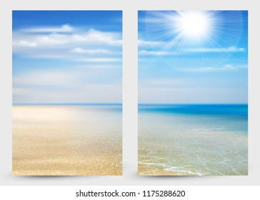 Set of two banners with Summer background of ocean, coastline, blue sky, sunshine and beach.