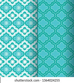 a set of two beautiful blue green Moroccan seamless pattern tiles with decorative elements for classic, ethnic surface design templates, textiles, fabric, wallpaper, background, cards and covers.