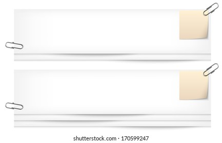 set of two blank banners with notes and paper clip