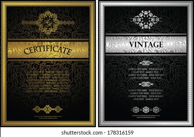 Set of two certificates. Vintage frame on a seamless background. Floral design. Can be used as diploma
