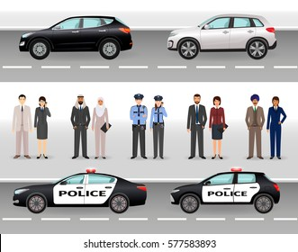 Set of two civil vehicles, two police cars, male and female policemen and civil people. Make your own scene. Flat vector illustration..