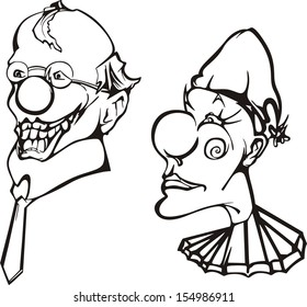 Set of two clown heads. Black and white vector illustrations.